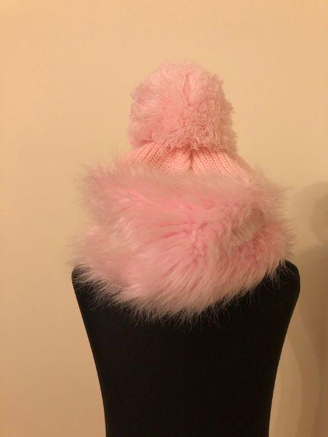 Czapka dziewczęca różowa zimowa 1 rok 92cm