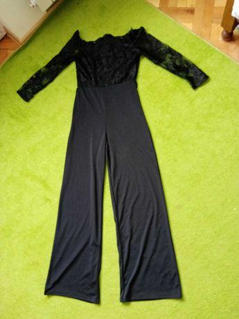 Kombinezon czarny, koronka, szerokie nogawki
