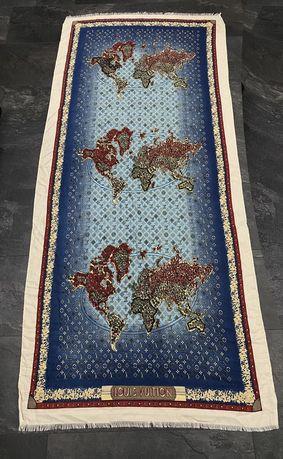 Louis Vuitton палантин шарф шаль кашемир шелк карта мира