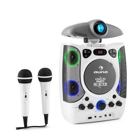 Zestaw karaoke głośnik przenosny 2w1 rzutnik LED USB MP3 CD AUNA NOWY