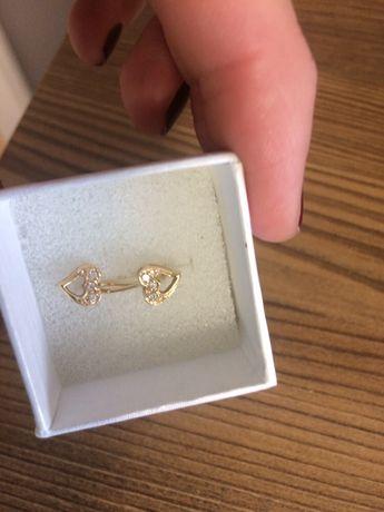 Złote kolczyki serduszka z cyrkoniami dla dziewczynki