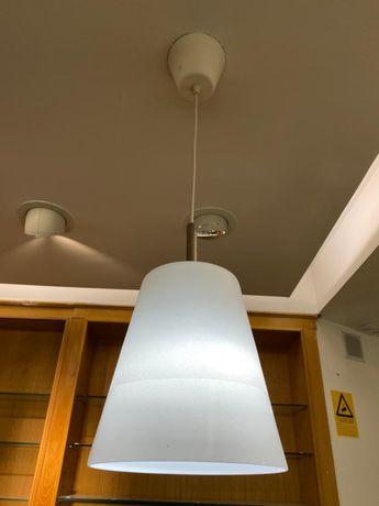 Candeeiro teto Branco de vidro fosco
