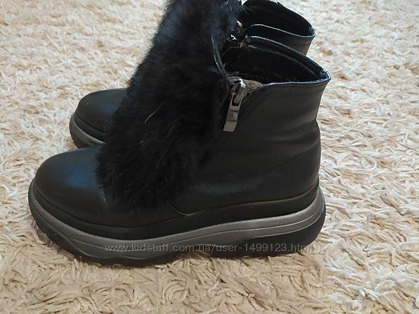 Ботинки зимові натуральна шкіра хутро кролика розмір 38