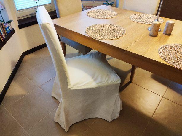 Pokrowce na krzesła IKEA długie, białe