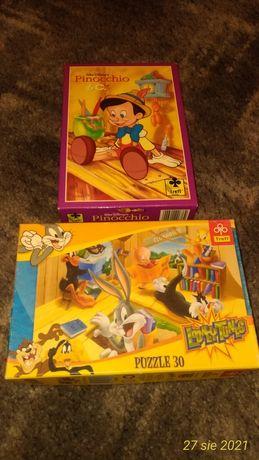 2x Puzzle Trefl Pinokio 60 el. i Królik Bags 30 el.