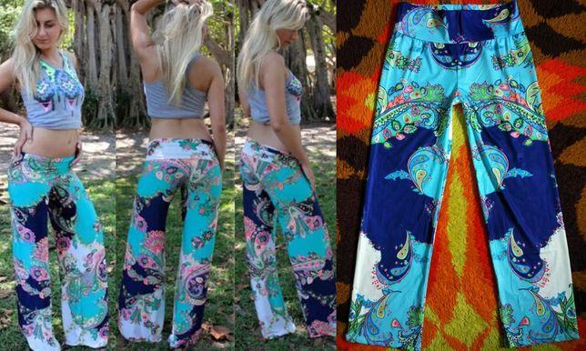 Nowe lekkie luźne spodnie etno boho hippie lejące haremki r 38 40
