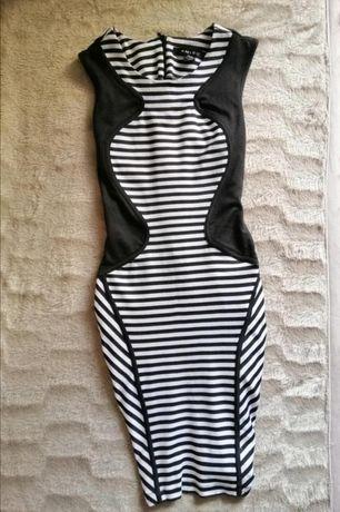 Платье сарафан полосатый мини карандаш в черно-белую полоску сукня ami
