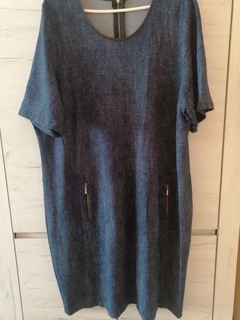 Sukienka granatowa (imitacja jeasnu)