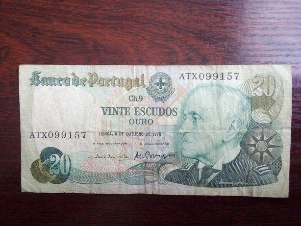 Banknot 20 escudos Portugalia