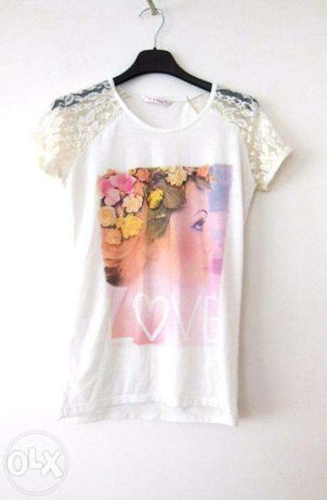 Biala koronkowa bluzka bialy t-shirt w koronke pastelowa hit wzorkwiat