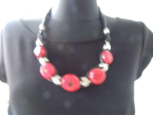 Komplet: biżuteria kolia naszyjnik + bransoletka koral naturalny