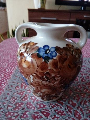 Prl wazon Kolo fajans sygnowany folk wys 14cm