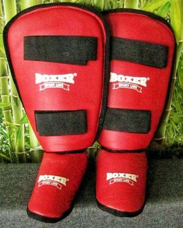 Защита для голени и стопы, кожвинил BOXER (красные)