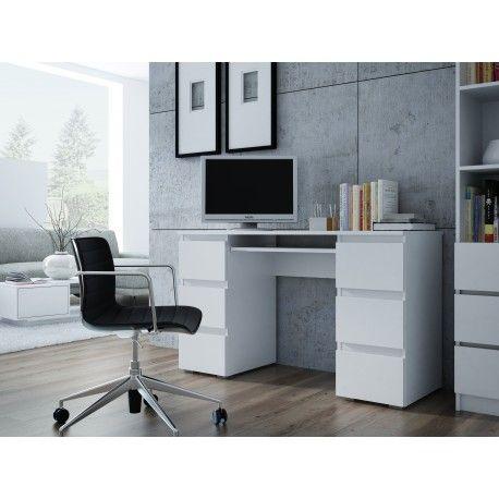 MODERN NEW – biurko białe matowe biurko z szufladami - DOWÓZ GRATIS