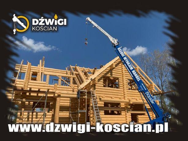 Wynajem żurawia dźwiga domy drewniane z bali konstrukcje szkieletowe