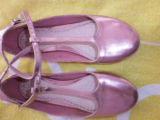 balerinki next metaliczne UK 13 różowe
