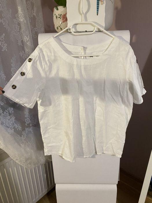 Biała bluzka guziki krótki rękaw Sinsay 40 L wiskoza Jugowice - image 1
