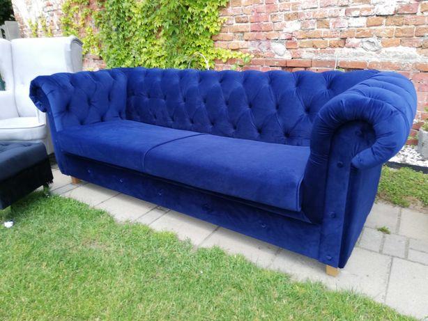 Sofa chesterfield velur 220 długa rozkładana velur producent  glamour