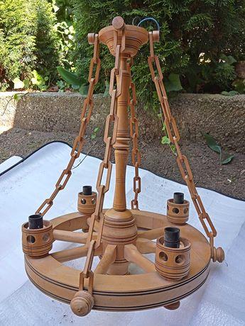 Lampa wisząca drewniania