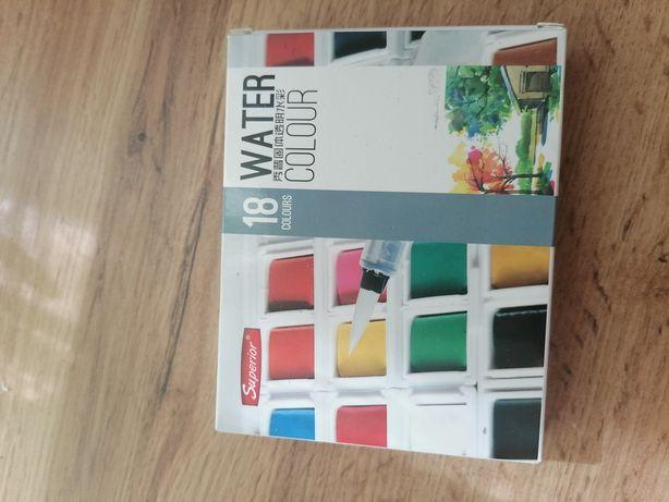 Набор художественных акварельных красок, 18 цветов + кисть brushpen +