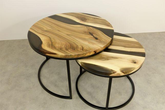 Zestaw stolików 2w1 Żywica Epoksydowa Lite Drewno Orzech Wild Wood