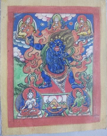Tybetańska tanka miniaturowa Dharmapāla. 19 wiek