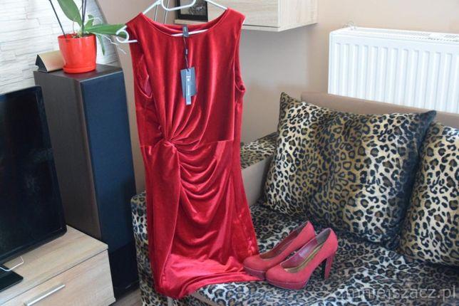 Sukienka czerwona zamszowa nowa elegancka chrzciny/ buty bordowe obcas