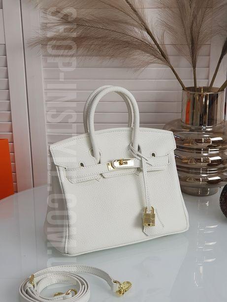 Белая кожаная женская сумка Hermes Birkin 25см. Кожа, разные размеры