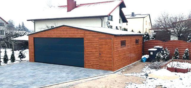 Garaz blaszany, 6x6 konstrukcja ocynk, profil, drewnopodobny, MAXI