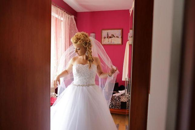 Suknia ślubna biała Victoria typu princessa jak Amy Love, Agnes,r36/38