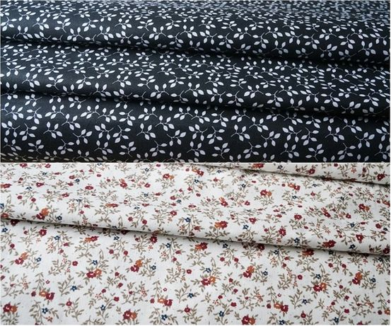 100% bawełna kwiatuszki łączka bordowe na ecru, gałązki na czarnym