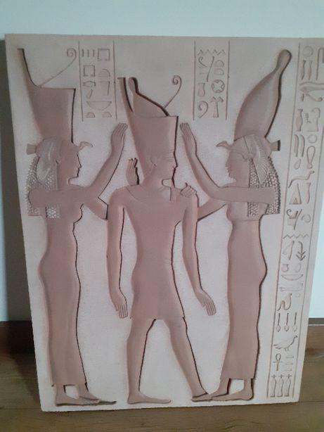 Obraz z gipsu.Rzeźba,Płaskorzeźba egipska, NOWA.