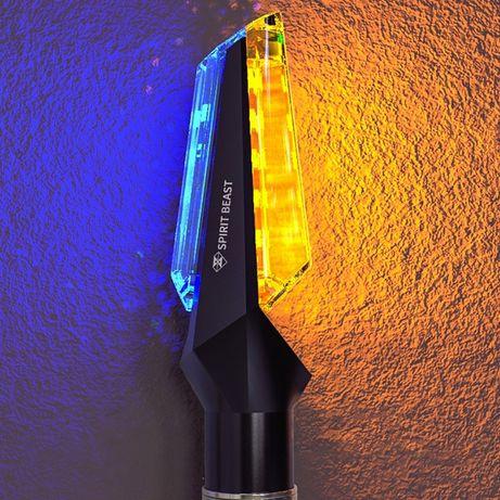 Универсальные светодиодные поворотники на мото DUAL, супер яркий / L4