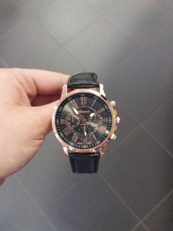 Nowy zegarek męski damski czarny ze złotym na pasku ekoskóra prezent