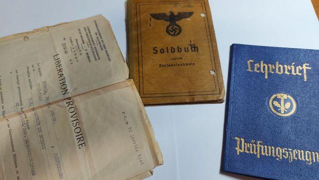 SOLDBUCH junho 1944 + doc +certificado ORIGINAL Alemanha nazi-suástica