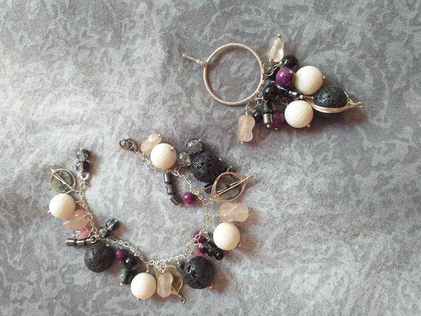 Komplet biżuterii kamienie naturalne w srebrze. Okazja, wyprzedaż!