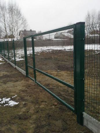 Montaż ogrodzenia z panela i siatki Łopuszno