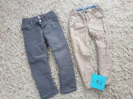 2pak Spodni Rurki HM 92 Szare Jeansy z Podszewką Beżowe 98