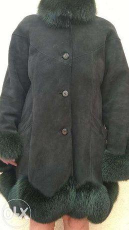 Kożuszek damski wykończony lisami ciemna zieleń 40-42