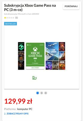 Subskrypcja Xbox Game Pass na PC (3 m-ce)