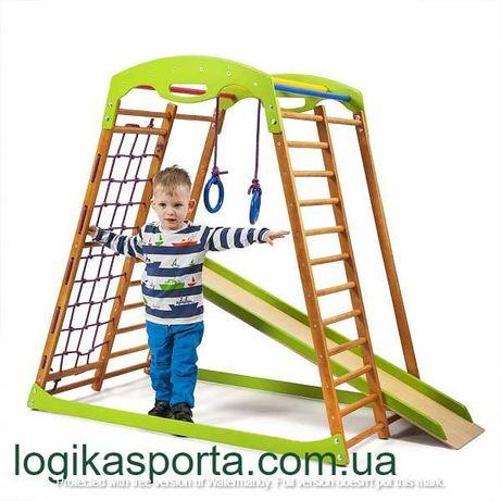 Спортивный детский комплекс из дерева. Горка, игровой уголок, площадка
