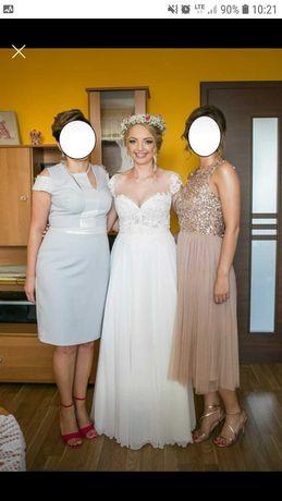 Suknia ślubna rozm. 38, koronka i muślin