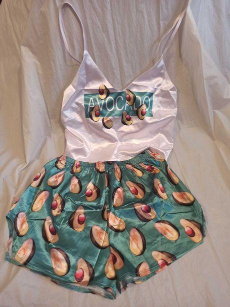 Шелковая пижама с авокадо зелёная шорты + топ