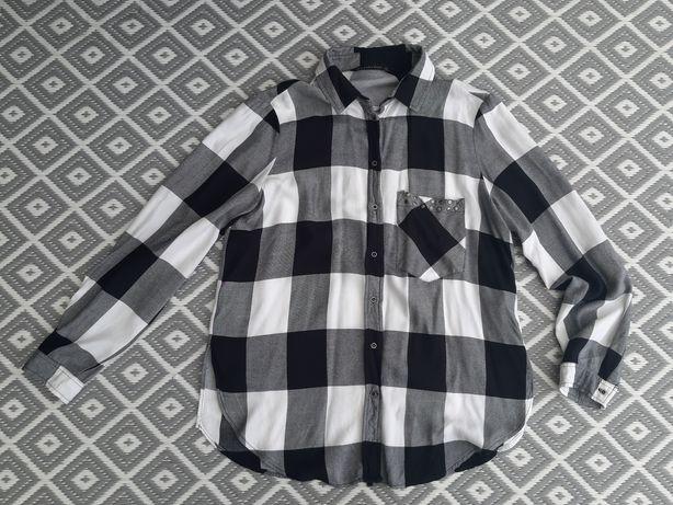 Zara koszula w czarno białą kratkę r. M