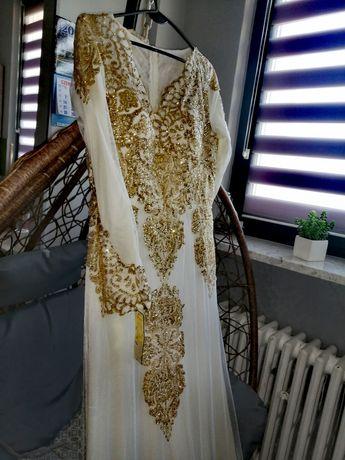 Sukienka, suknia ślubna, suknia wieczorowa, biała, złota