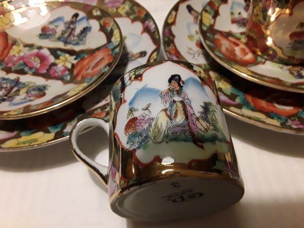 Serwis kawowy chińska porcelana ręcznie malowany 18 cz. do espresso