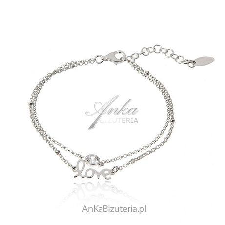 ankabizuteria.pl kolczyki wkrętki srebrne Srebrna bransoletka LOVE z b