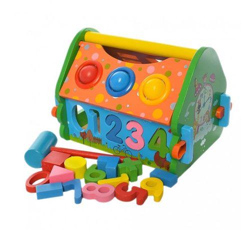 Деревянный домик стучалка шарики развивающие игрушки