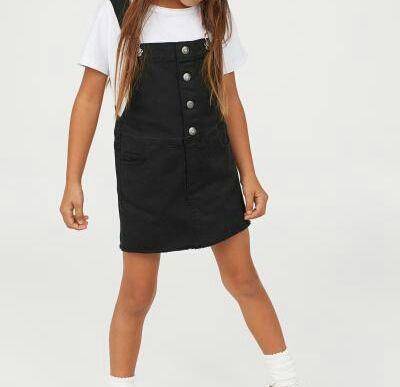 czarna spódnica spódniczka na szelkach sukienka H&M 128