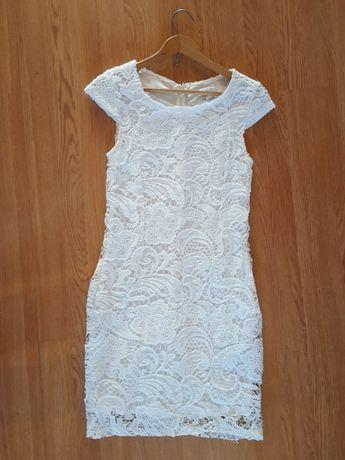 śliczna koronkowa sukienka Amisu xs ażurowa biała 36